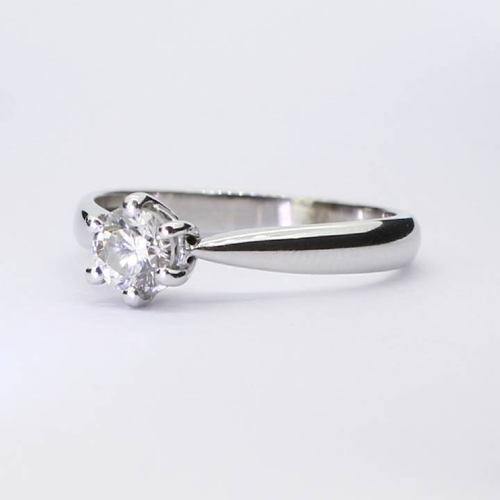 Pre-Owned 18ct White Gold Diamond Solitaire Ring 0.51ct