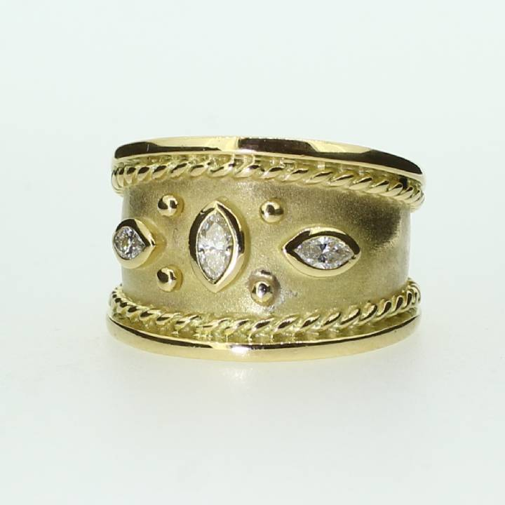 Pre-Owned 18ct Yellow Gold  Diamond Wide Band Ring
