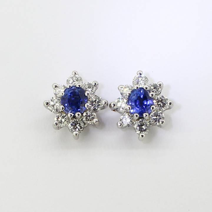 Pre-Owned 18ct White Gold Diamond And Sapphire Earrings 1607281