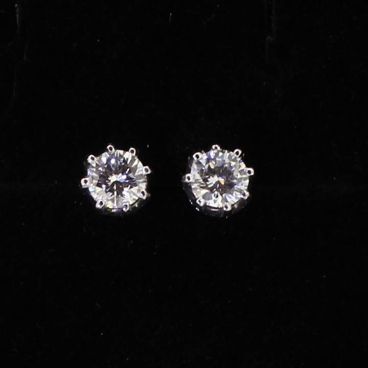 Pre-Owned 18ct Gold Diamond Solitaire Stud Earrings, 0.66ct 7113126