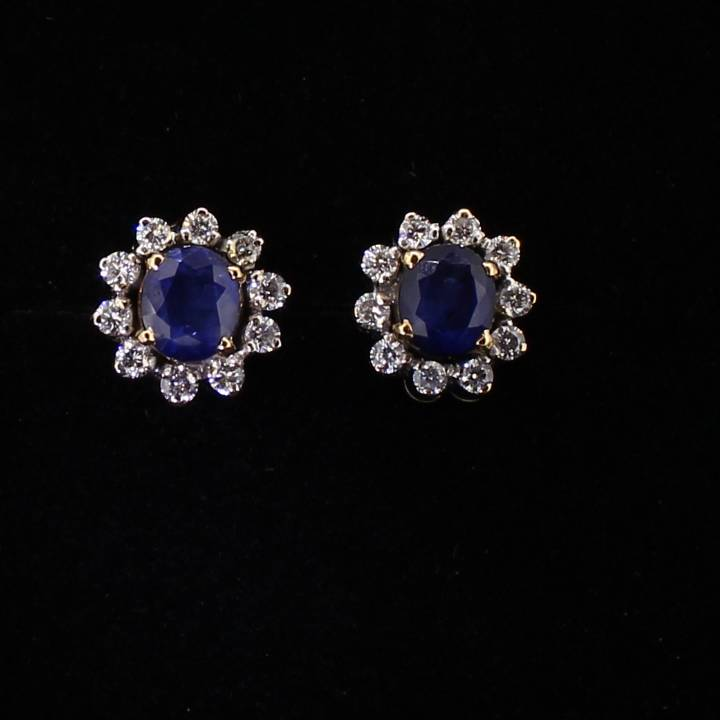 Pre-Owned 18ct Yellow Gold Diamond And Sapphire Earrings
