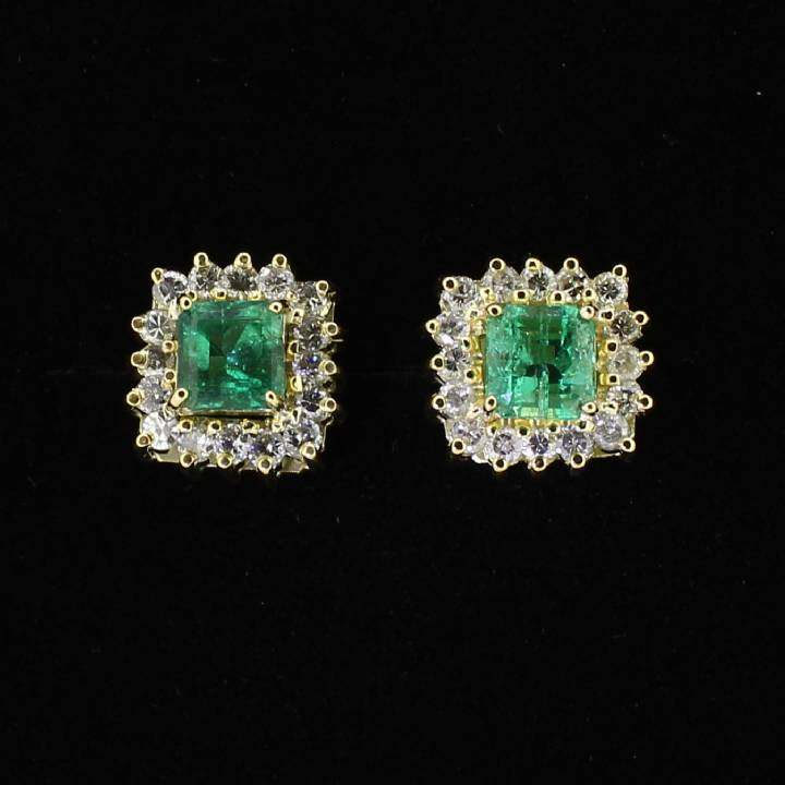 Pre-Owned 18ct Yellow Gold  Diamond & Emerald Cluster Earrings