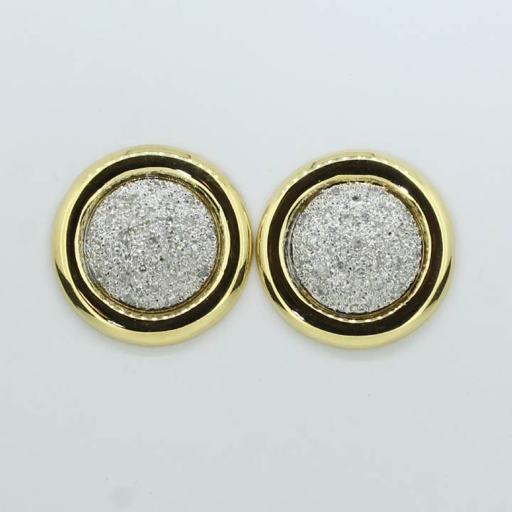 Pre-Owned 18ct Yellow Gold  Diamond Circle Stud Earrings 1607165
