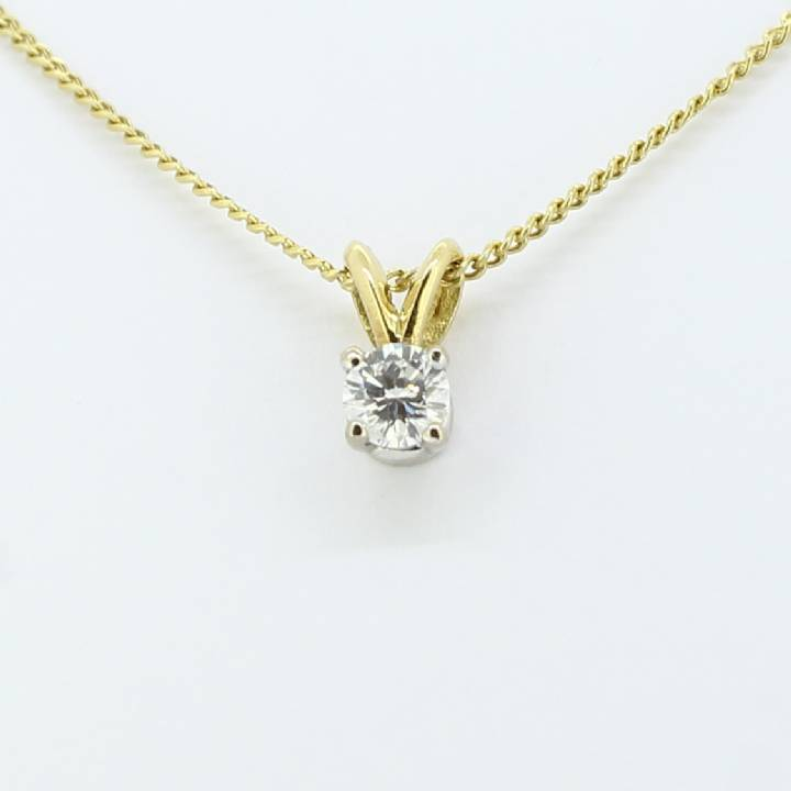 Pre-Owned 18ct Diamond Solitaire Pendant And Chain 0.26ct