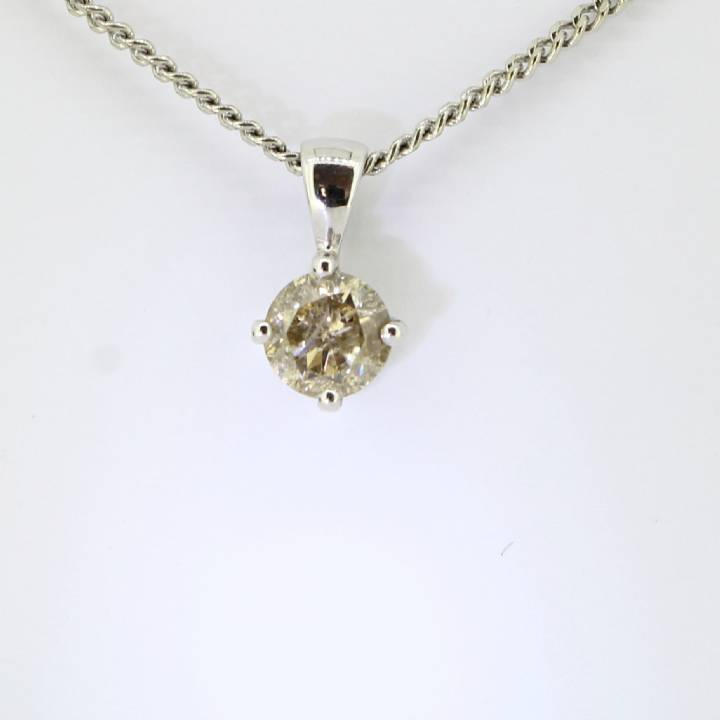 Pre-Owned 18ct White Gold Diamond Solitaire Pendant 0.90ct