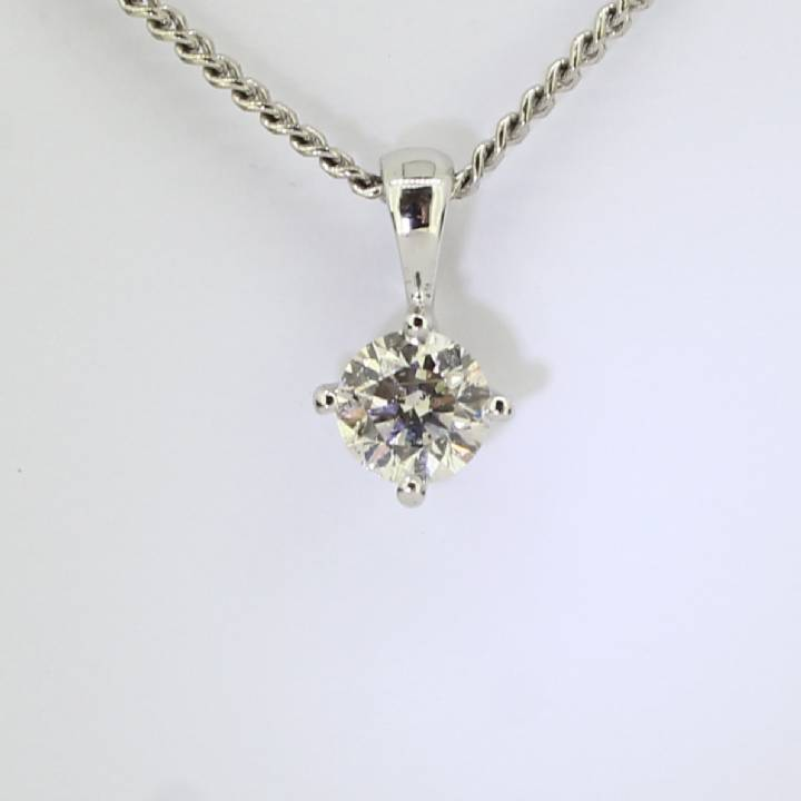 Pre-Owned 18ct White Gold Diamond Soltaire Pendant 0.65ct