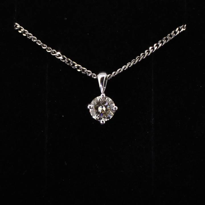 Pre-Owned 18ct White Gold Diamond Solitaire Pendant 0.90ct 7113107