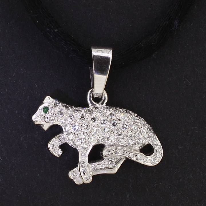 Pre-Owned 18ct White Gold Diamond Panther Pendant