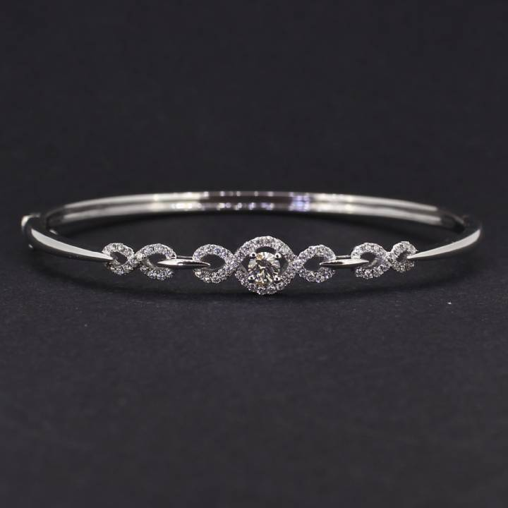 Pre-Owned 18ct White Gold  Diamond Set Bangle 1607212