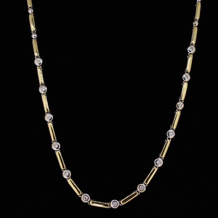 Pre-Owned 18ct 2 Colour  Gold Diamond Necklet 0.37ct Total 1607279