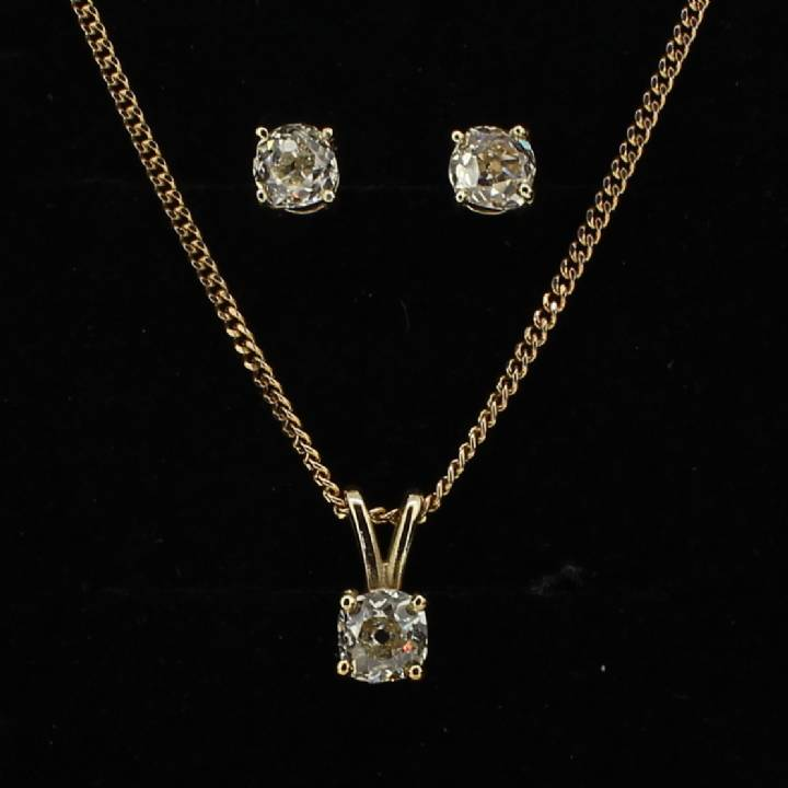Pre-Owned Diamond Solitaire Pendant And Earring Set 1.93ct Total 1607275