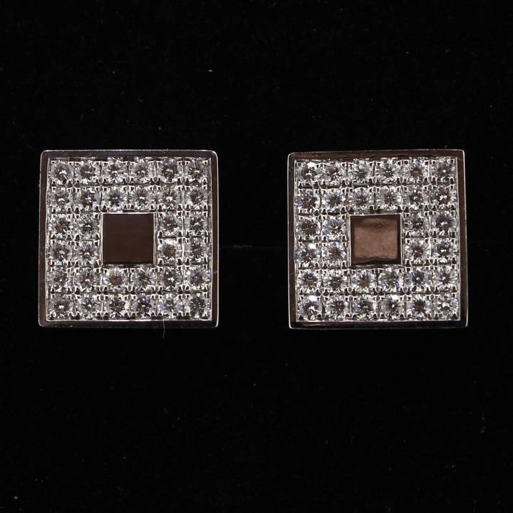 Pre-Owned 18ct White Gold Diamond Set Cufflinks 1607171