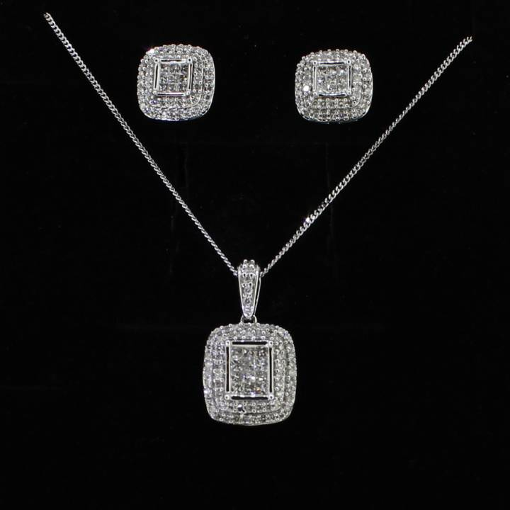 Pre-Owned 18ct White Gold Diamond Earring And Pendant Set 1607271