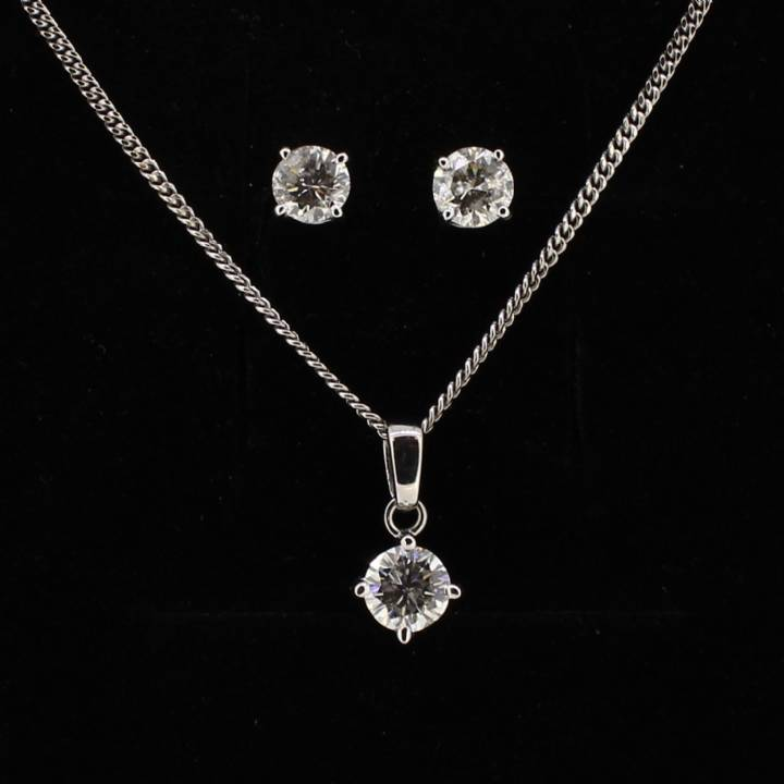 Pre-Owned Solitaire Diamond Pendant And Earrings Set