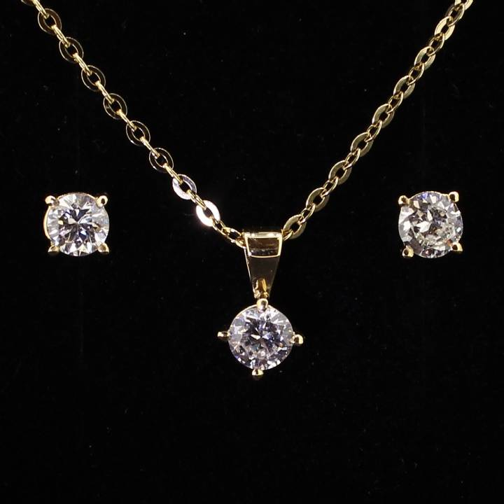 Pre-Owned 18ct Yellow Gold  Diamond Pendant And Earring Set 1607218