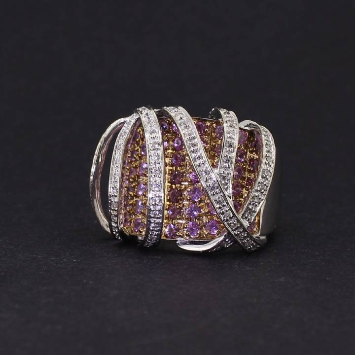 Pre-Owned 18ct White Gold  Diamond And Pink Sapphire Ring