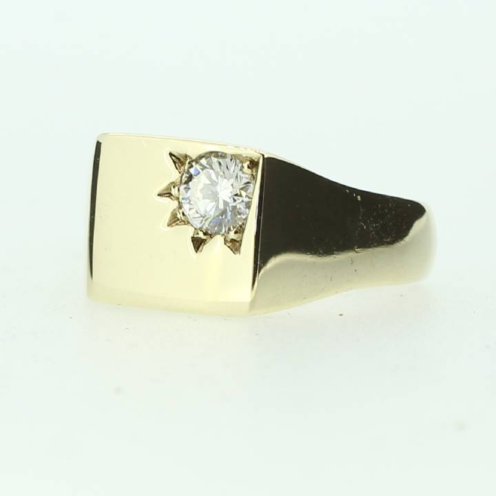 Pre-Owned 9ct Yellow Gold  Gents Diamond Signet Ring 1601156
