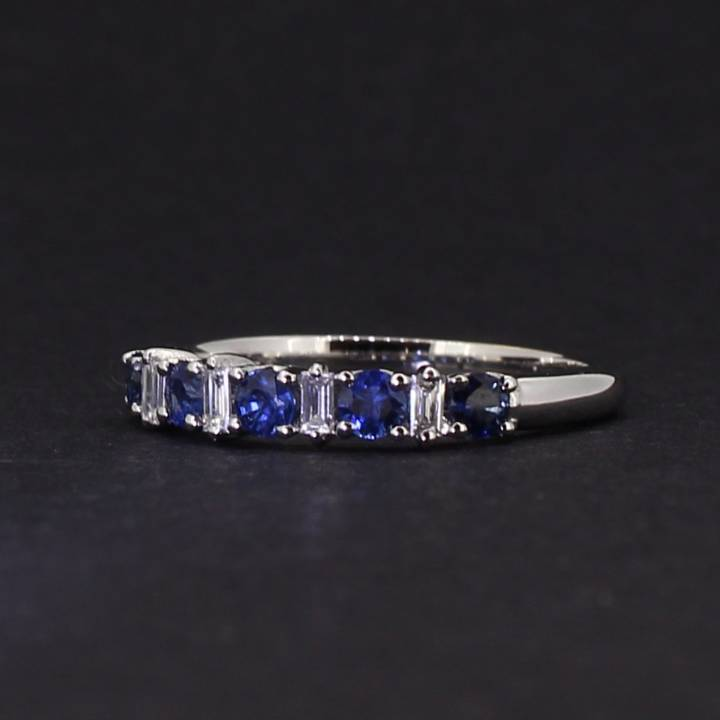 18ct White Gold Diamond And Sapphire Half Eternity Ring. 0580950
