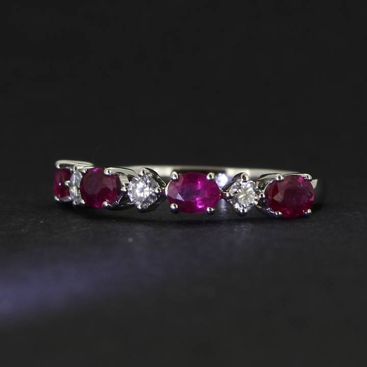 18ct Yellow Gold Diamond And Ruby Half Eternity Ring. 0580934