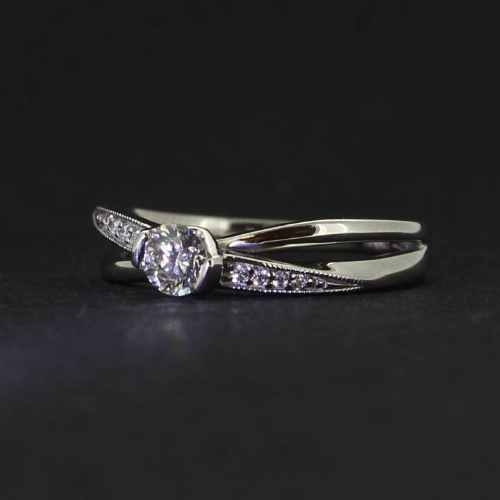 18ct White Gold Diamond Solitaire Ring.