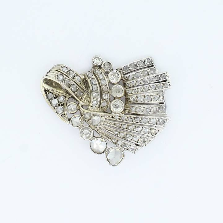 Pre-Owned Silver Diamond Fancy Brooch, 2.52ct 7113150