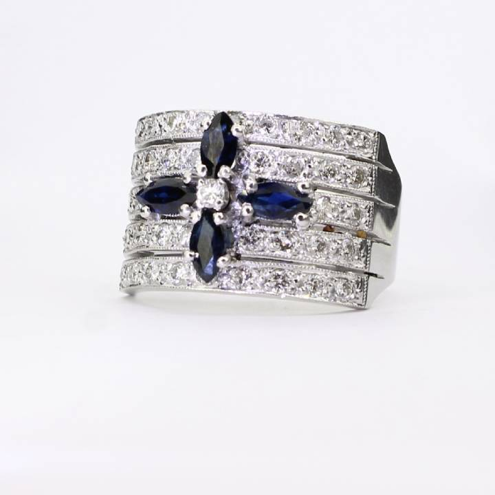 Pre-Owned 18ct White Gold Diamond And Sapphire 5 Row Ring