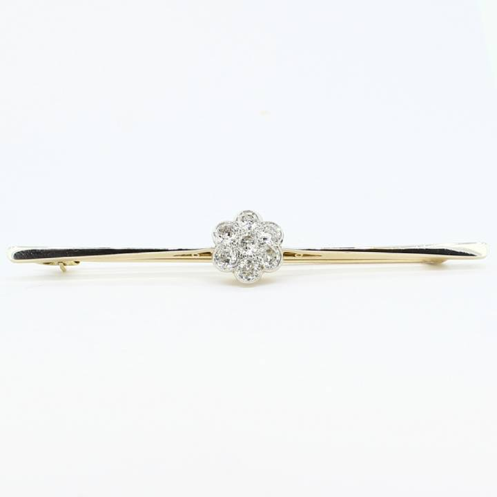 Pre-Owned 18ct Gold & Platinum Diamond Brooch 0.70ct 1607357