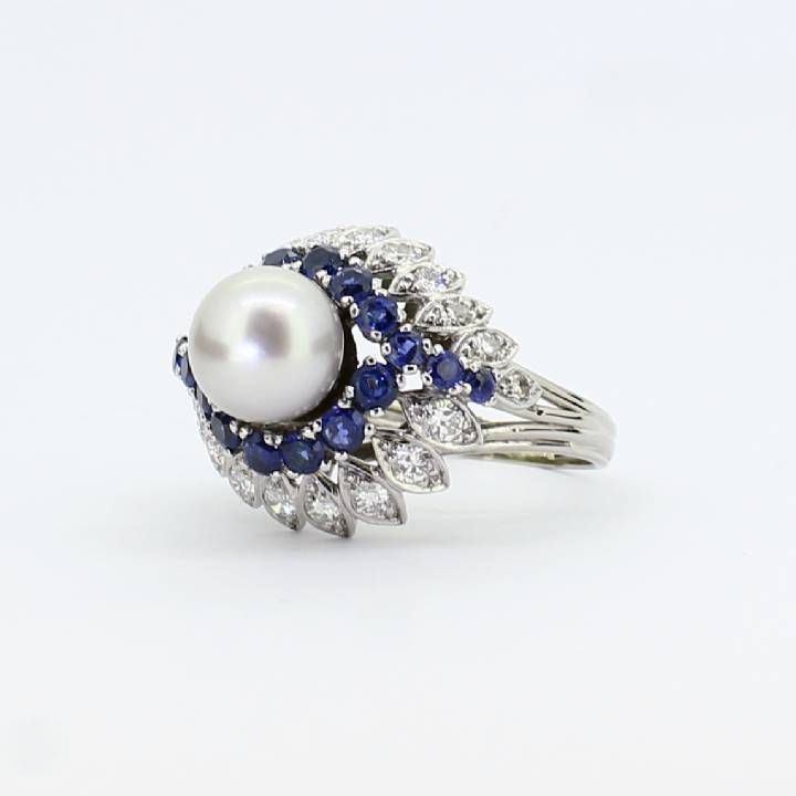 Pre-owned 18ct White Gold Diamond, Sapphire and Pearl Ring 0.50c