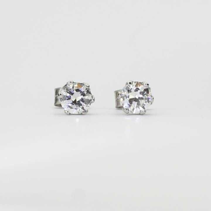 Pre-Owned 18ct White Gold Diamond Stud Earrings 0.60ct Total 1607345