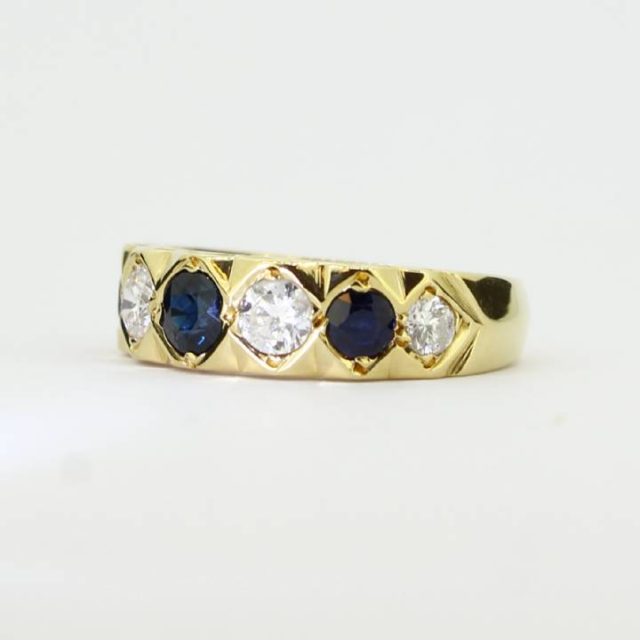 Pre-Owned 18ct Yellow Gold Diamond And Sapphire 7 Stone Ring
