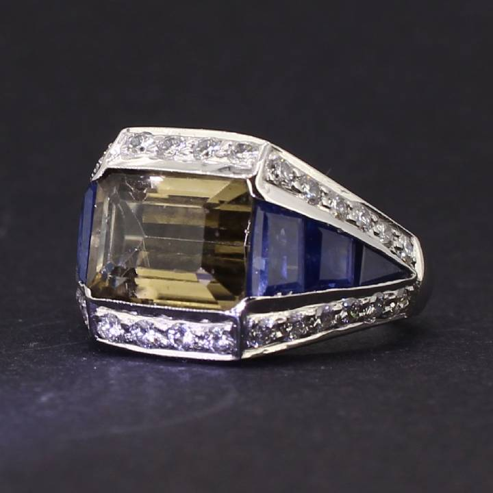 Pre-Owned 18ct White Gold Diamond, Sapphire And Quartz Ring 7109025