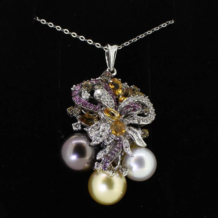 Pre-Owned Diamond,Pearl And Multi Gem Pendant And Chain