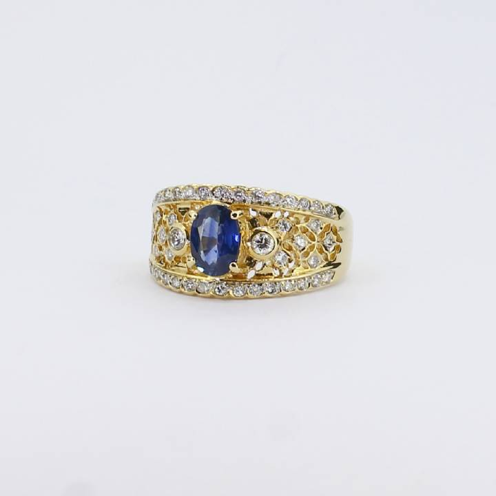 Pre-Owned 18ct Yellow Gold Diamond And Sapphire Ring, 0.50ct 1609057