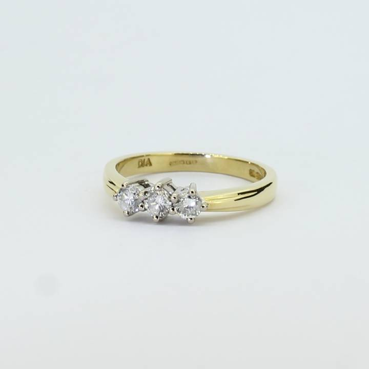 Pre-Owned 18ct Yellow Gold Diamond 3 Stone Ring, 0.34ct 1604841