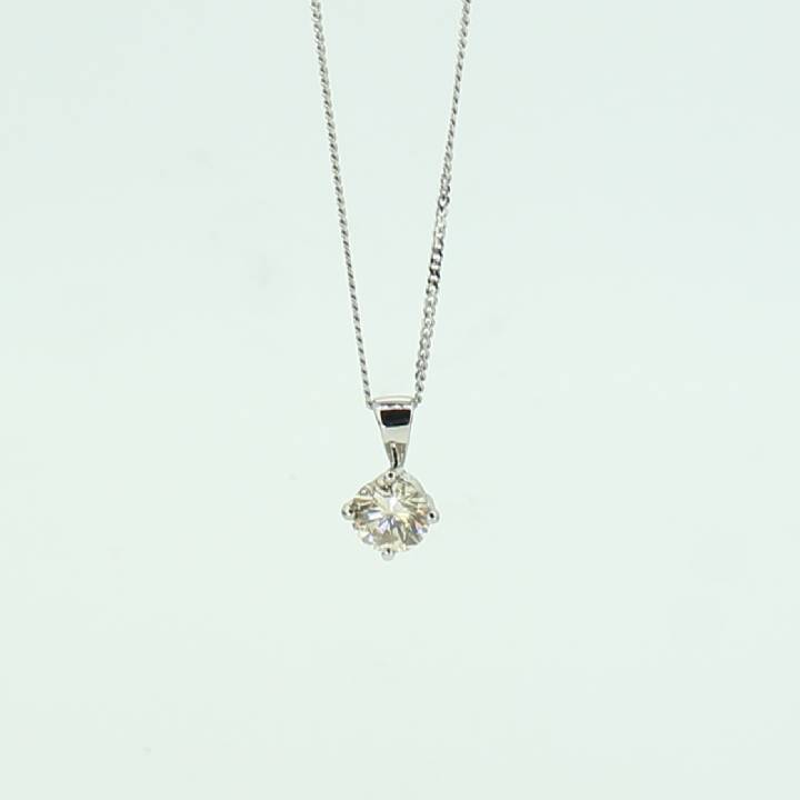 Pre-Owned 18ct White Gold Diamond Solitaire Pendant 0.40ct 7113074