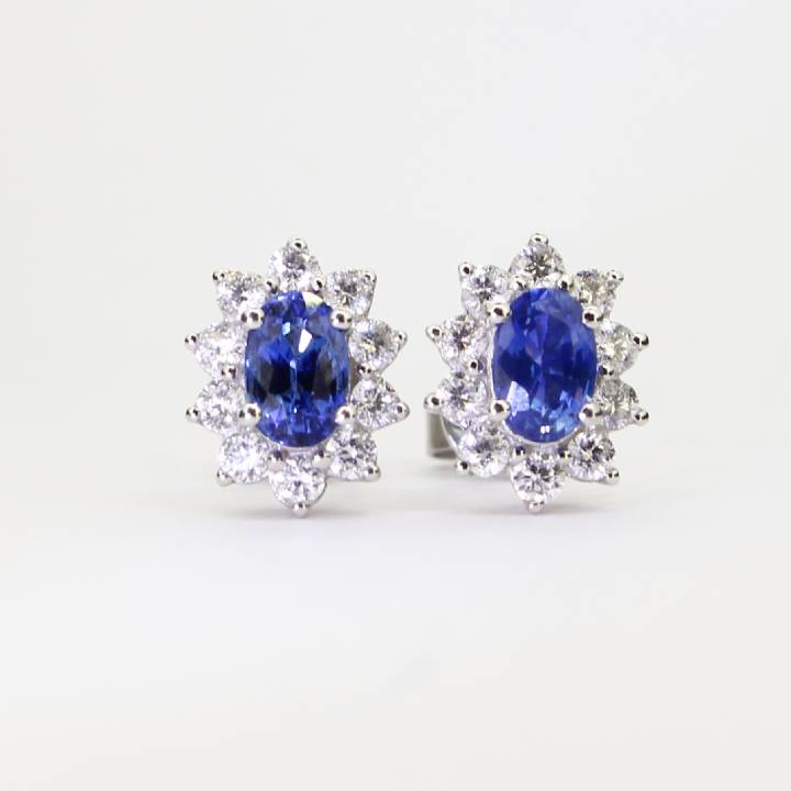 White Gold Diamond And Sapphire Cluster Earrings