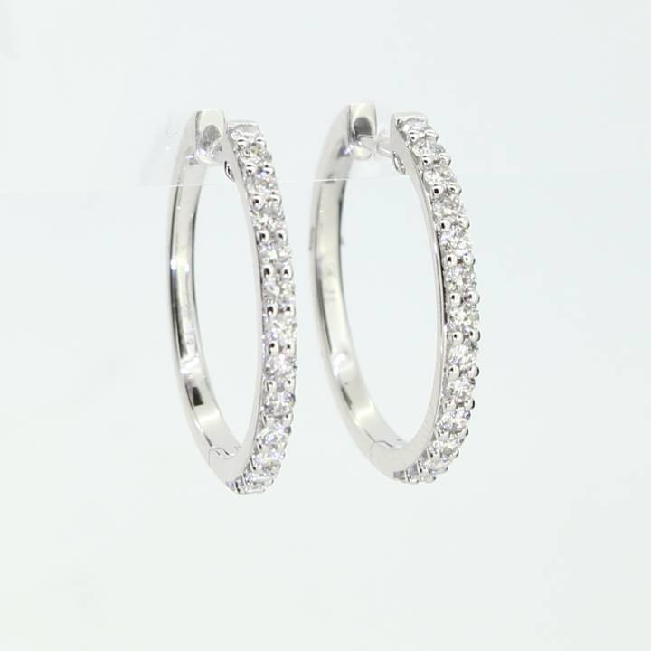 9ct White Gold Diamond Hoop Earrings 0.50ct 0543756