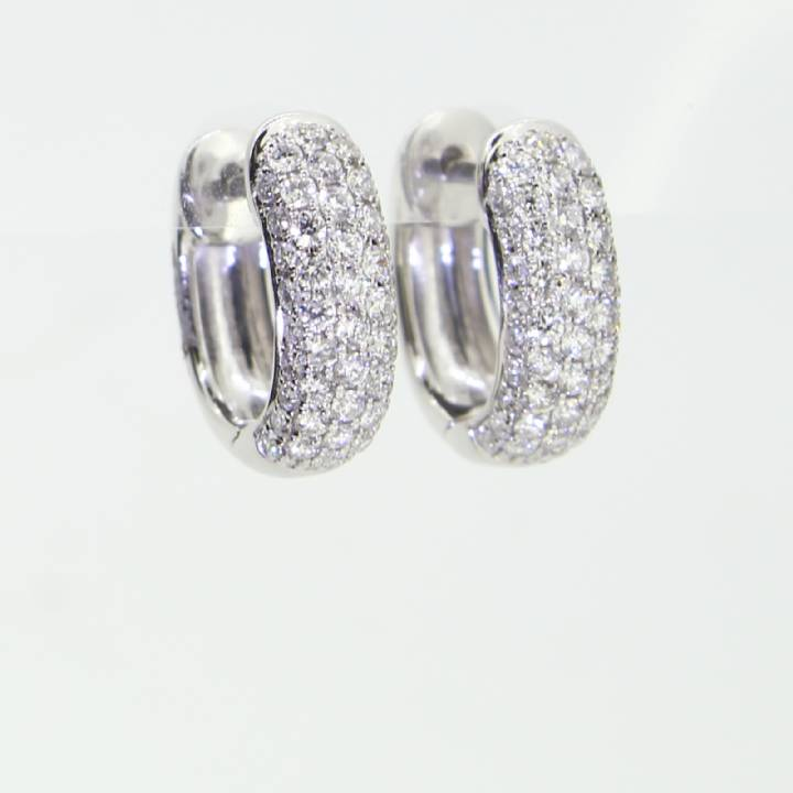 18ct White Gold Diamond Wide Hoop Earrings 0.75ct