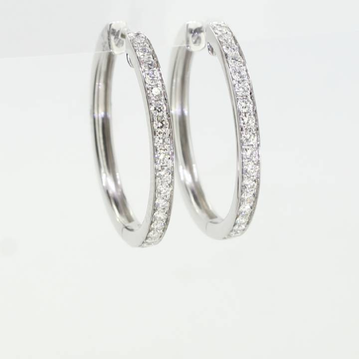 18ct White Gold Diamond Hoop Earrings 0.50ct 0543762