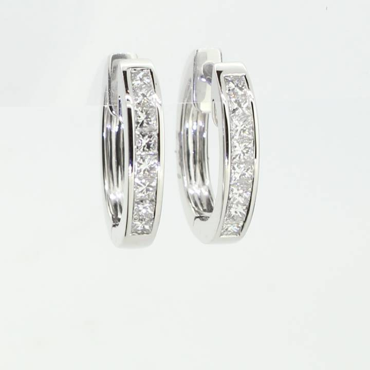 18ct White Gold Diamond Hoop Earrings 1.00ct 0543763
