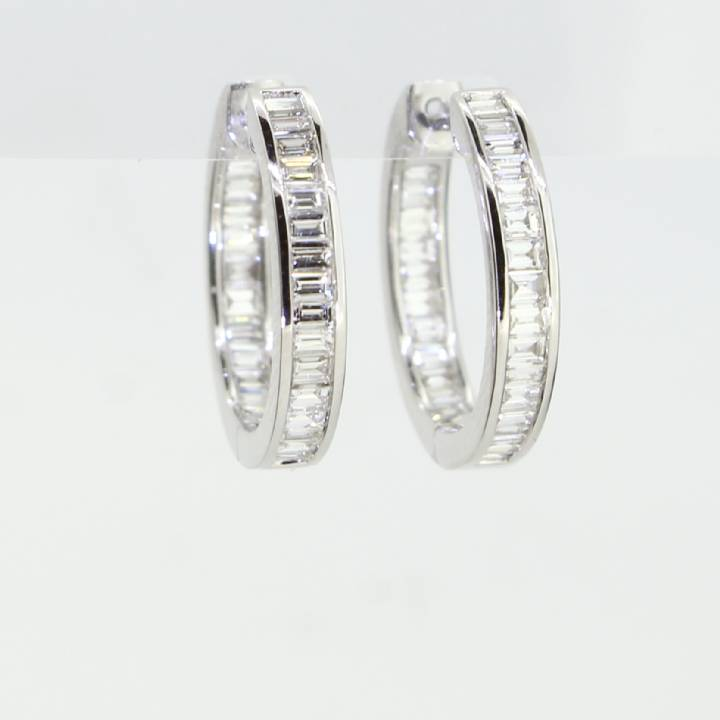 18ct White Gold Diamond Hoop Earrings 1.00ct 0543766