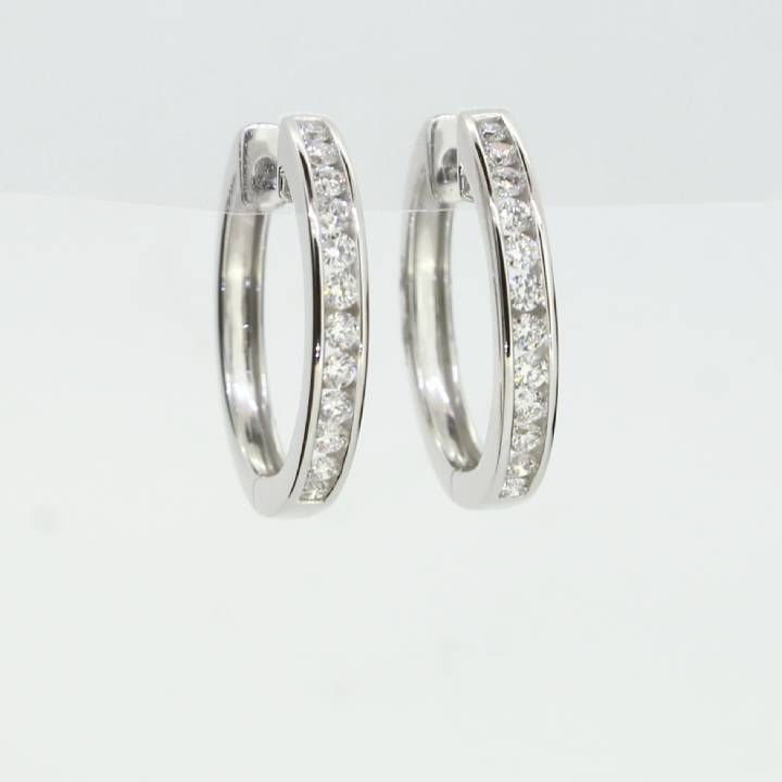 18ct White Gold Diamond Hoop Earrings 0.50ct