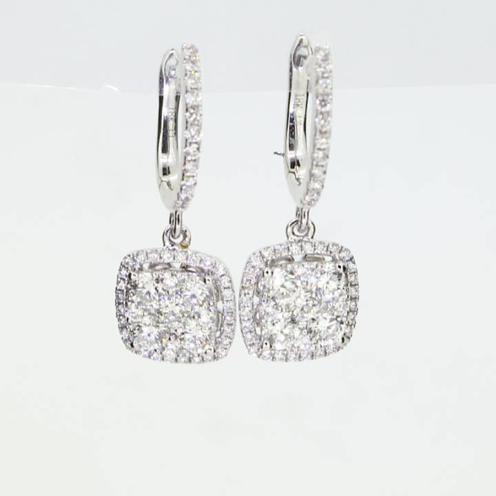 18ct White Gold Diamond Drop Cluster Earrings 1.25ct 0543767