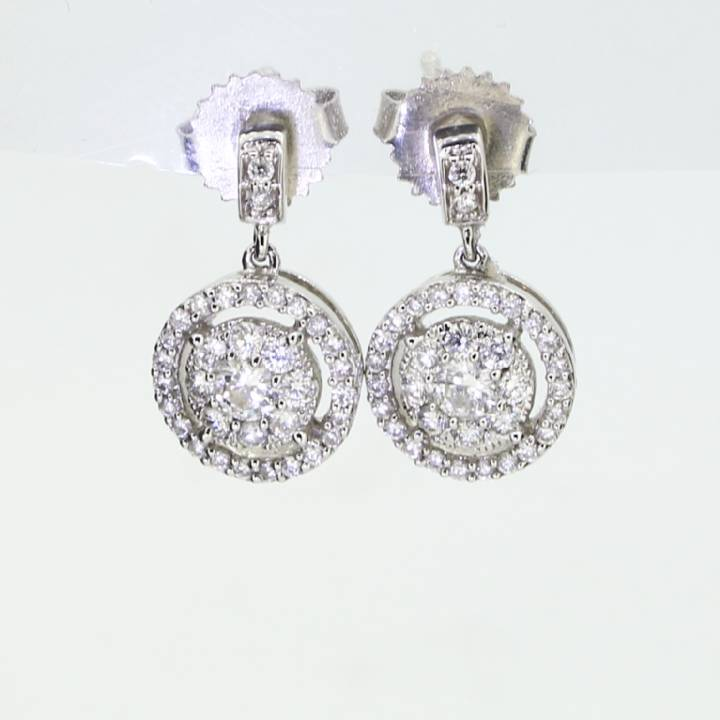18ct White Gold Diamond Cluster Drop Earrings 0.75ct