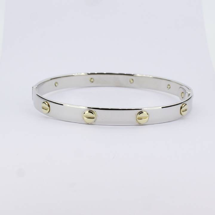 Pre-Owned 9ct White And Yellow Gold Screw Bangle 1503177