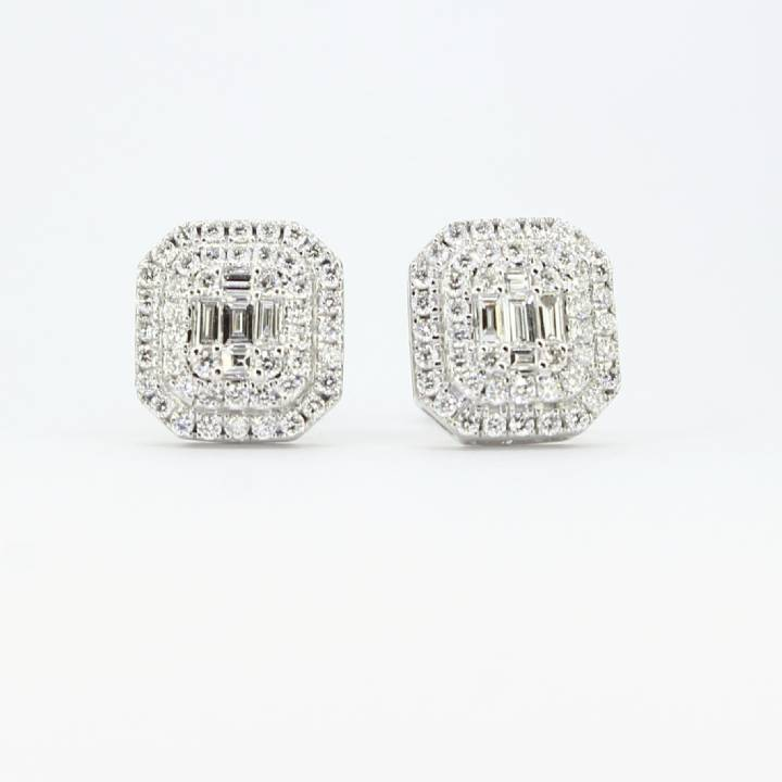 18ct White Gold Diamond Cluster Stud Earrings 0.75ct 0543749