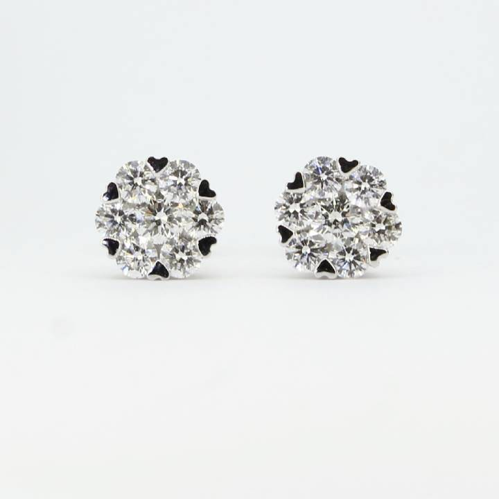 Pre-Owned 18ct White Gold Diamond Cluster Stud Earrings 1.10ct