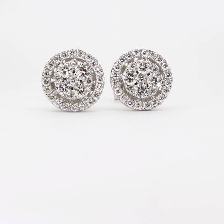 18ct White Gold Diamond Cluster Stud Earrings 0.70ct