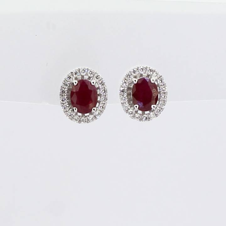 18ct White Gold Diamond And Ruby Cluster Stud Earrings 0543734