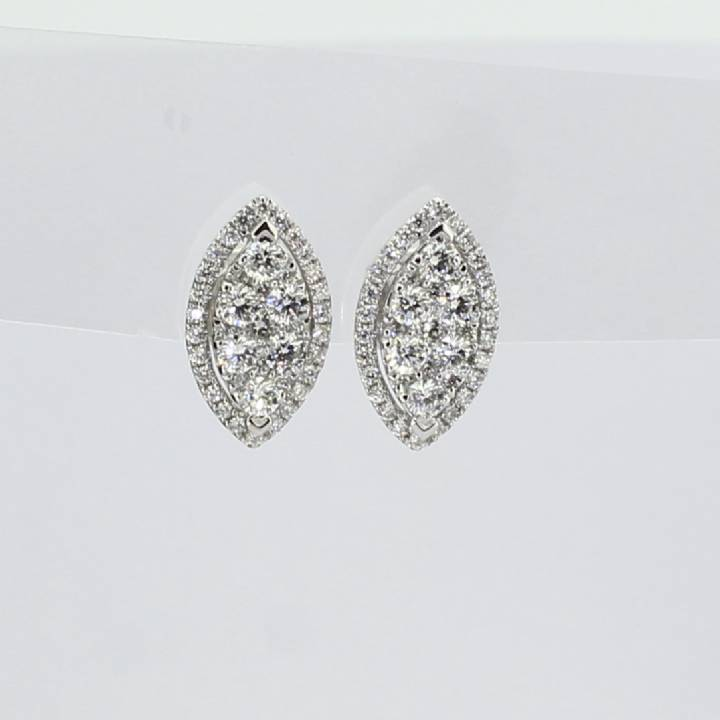 18ct White Gold Diamond Marquise Shaped Stud Earrings 0.85ct 0543739
